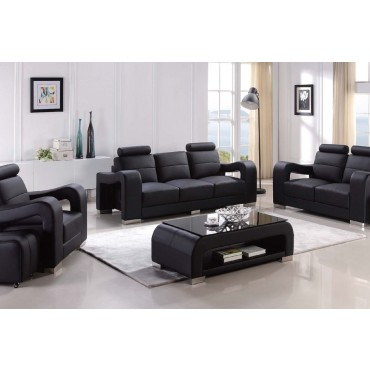 Designer Black Top Graded Real Leather Sofa Suite