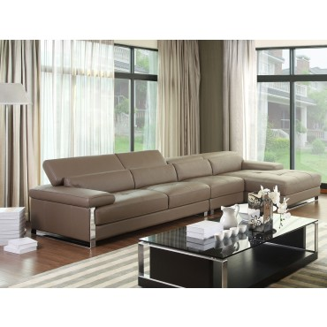 Chelsea Grey Top Graded Real Leather Corner Sofa