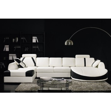 Designer White and Black Top Graded Real Leather Corner Sofa