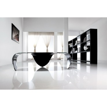 Designer Hot Bending Clear Glass With Black Painting Coffee Table