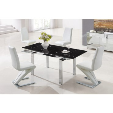 Designer Extendable Tempered Glass Dining Table with White Z Chairs