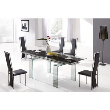 Designer Tempered Glass Legs Dining Table with 6 High Back Chairs