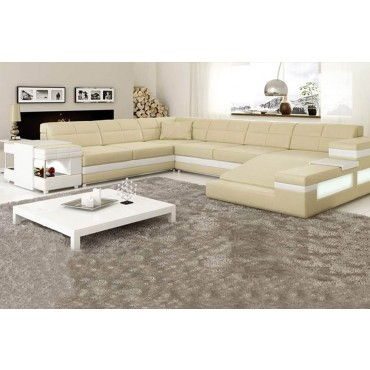 Designer Cream Corner Leather Sofa Suite With Lamp