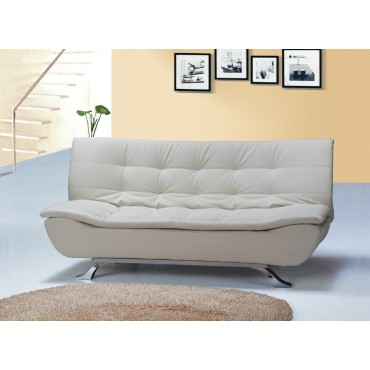 Designer Ivory Faux Leather Sofa Bed 4 Seater with Removable Mattress