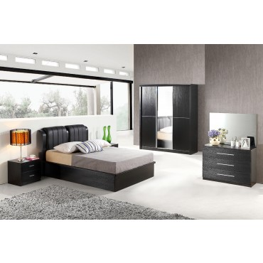 Black Rose King Size Bed+ Nightstand+ Dressing Table+ Wardrobe