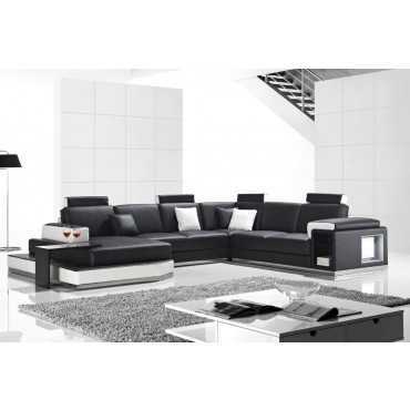 Designer Juliet Black and White corner leather sofa suite