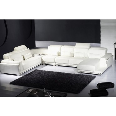 Designer White Corner Suite With 1+2+3Seater+ Corner+ Chaise