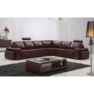 Designer Sorrento Brown Top Graded Real Leather Corner Sofa Suite