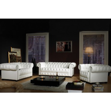 Access Stock Oskar Chesterfield White Top Graded Real Leather 2+1 Seater Sofa Suite