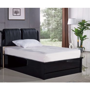 Rugby Black Double Bed (Black Leather)