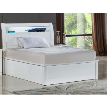 Rugby White Double Bed with LED Light