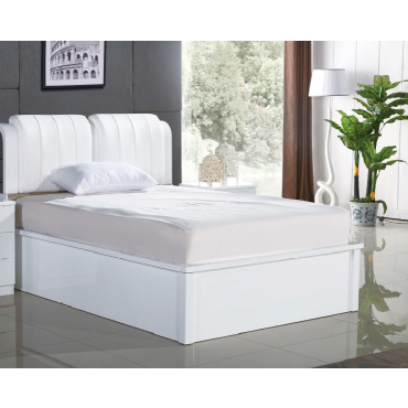 Rugby White King Bed (White Leather)