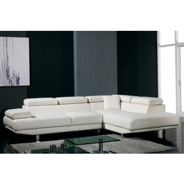Designer Snowdrop White Top Graded Real Leather Corner Sofa