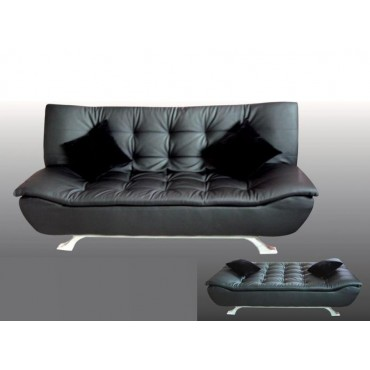 Designer Black Faux Leather Sofa Bed 4 Seater with Removable Matterss