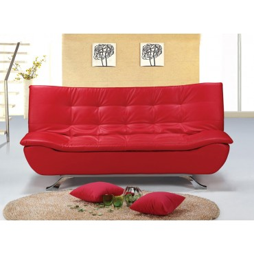 Designer Red Faux Leather Sofa Bed 4 Seater with Removable Mattress