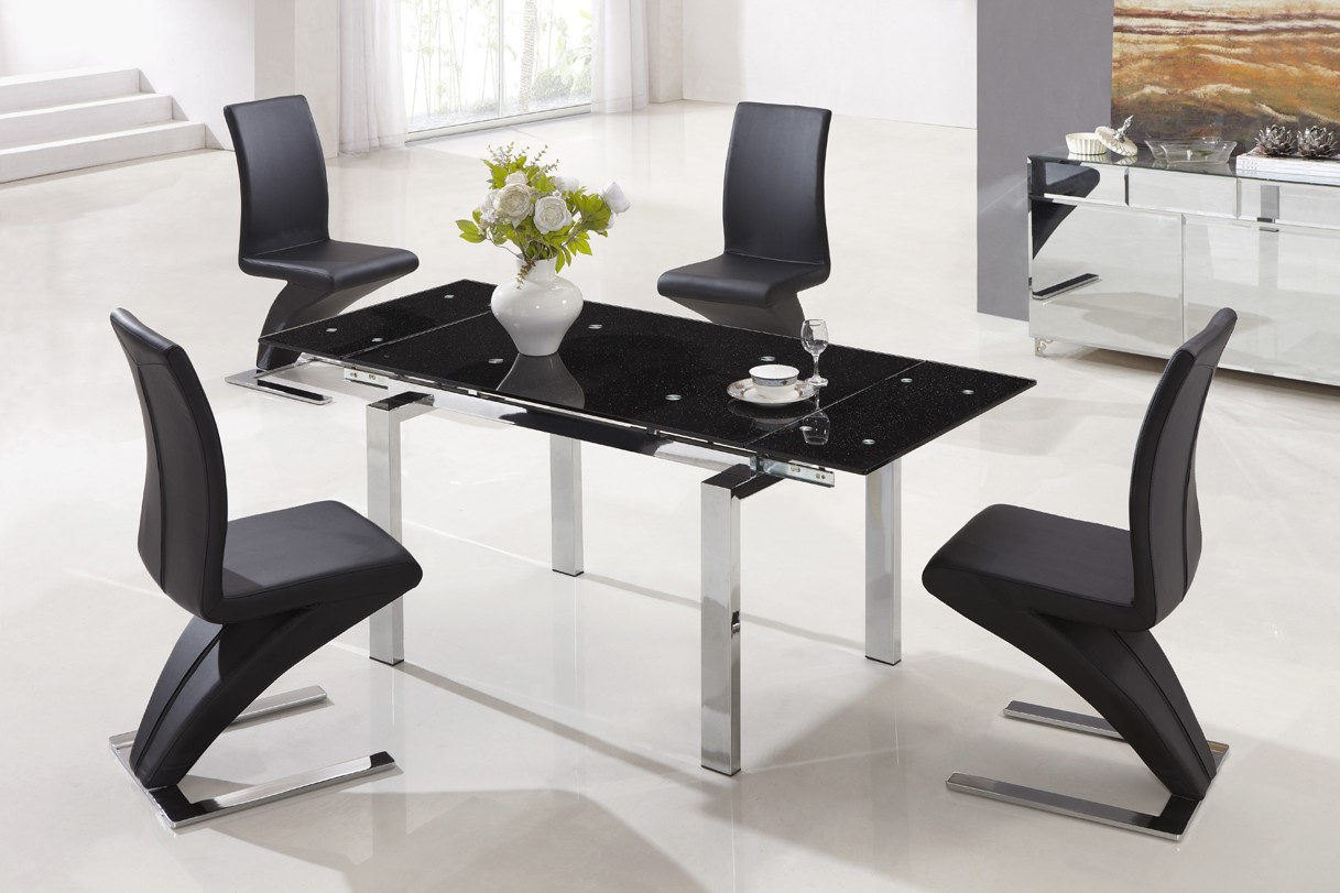 Designer extendable tempered glass dining table with black for Black glass dining table