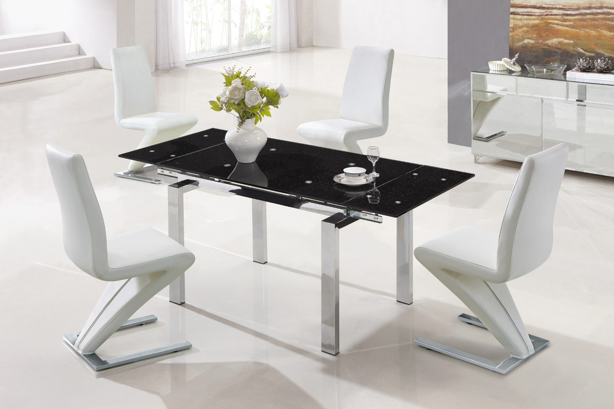 Designer extendable tempered glass dining table with white for Tempered glass dining table