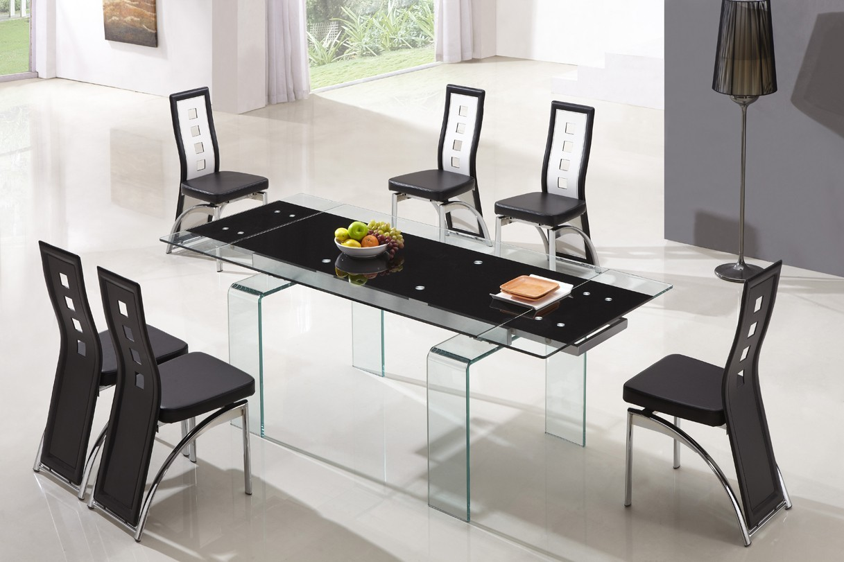 Designer Tempered Glass Legs Dining Table With 6 Black And