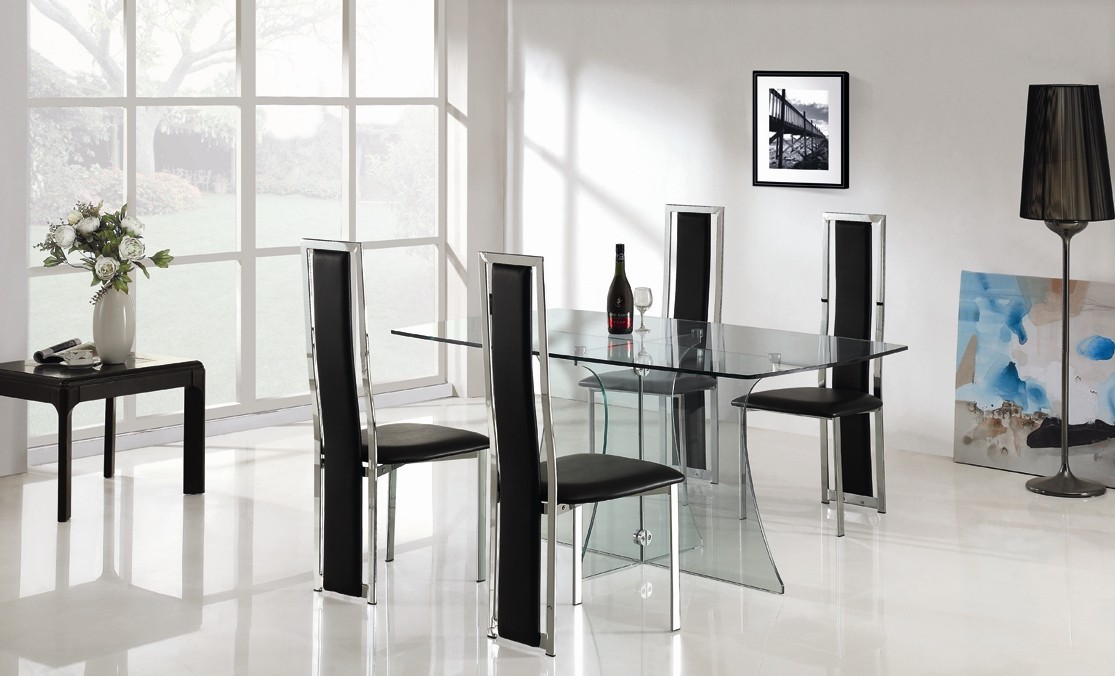 Clearance Sale Designer Clear Glass Dining Table With 4 High Back Chairs