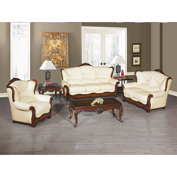 Designer Galaxy Off White 3 2 1seater Leather Sofa Suite