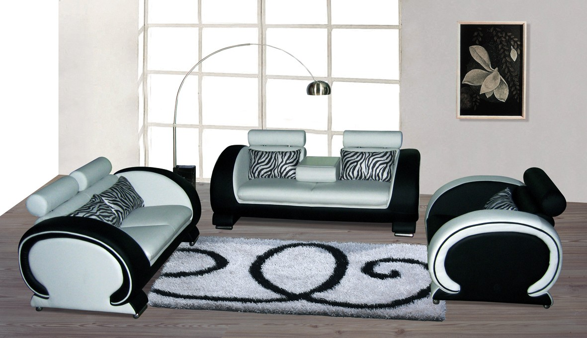 Blossom White and Black Top Graded Real Leather Sofa