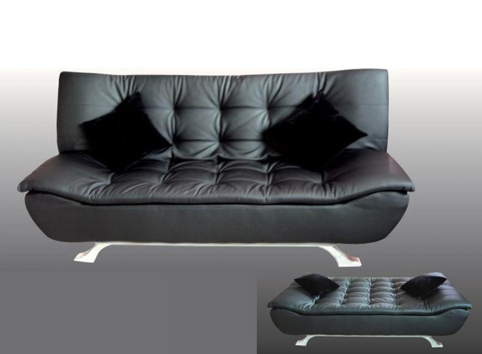designer black faux leather sofa bed 4 seater with. Black Bedroom Furniture Sets. Home Design Ideas