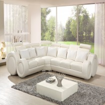 Infinity Corner White Top Graded Real Leather Sofa Suite ( Opposite)