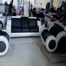 Infinity Black and White Manual Recliner Leather Sofa Suite