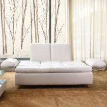 Andara White Top Graded Leather 3 Seater Sofa Bed