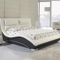 Modern Designer Real Leather Headboard Bed