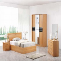 Designer Beech Colour Solid MDF Wood Bedroom Set