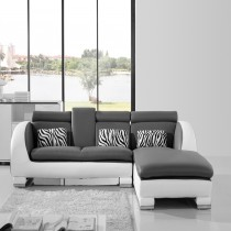Grey and White Top Graded Leather Corner Sofa