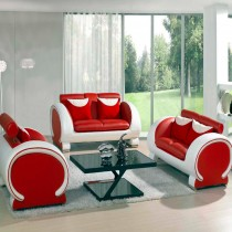 Blossom Red and White Top Graded Real Leather Sofa