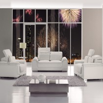 White Top Graded Real Leather Sofa