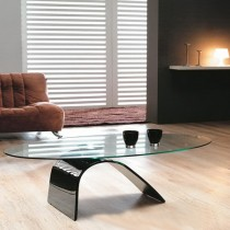 Designer Hot Bending Tempered Glass With Black Painting Coffee Table