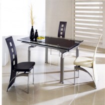 Designer Glass Extending Dining Table With 6 Chairs
