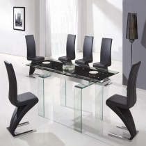 Designer Tempered Glass Legs Dining Table With 6 Z Chairs