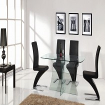Clearance Sale Designer Clear Glass Dining Table with 4 Z Chairs