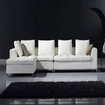 Designer White Top Graded Leather Corner Sofa1+3Seater + Chaise