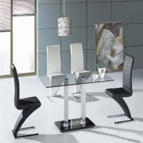 Designer Glass Chrome Dining Table and Z Chairs