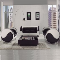 Black and White Leather Sofa Suite