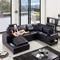 Designer Gardenia Black Corner Leather Sofa Suite