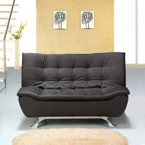 Designer Brown Faux Leather Sofa Bed 4 Seater with Removable Mattress