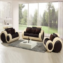 Infinity Brown and Cream Manual Recliner Leather Sofa Suite