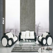 Infinity White and Black Manual Recliner Leather Sofa Suite