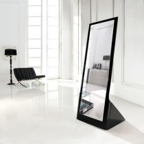 Designer Bend Glass Mirror With Black Painting