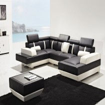Designer Prado Black and White Corner Leather Sofa suite With Coffee Table