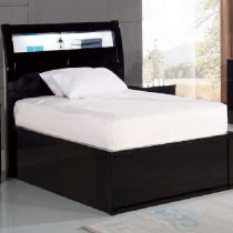 Rugby Black Double Bed with LED Light