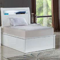 Rugby White King Bed with LED Light
