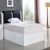 Rugby White Double Bed (Black Leather)